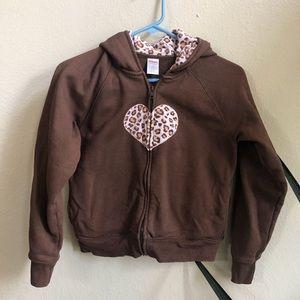 Gymboree brown zip up hoodie w/ pink cheetah print